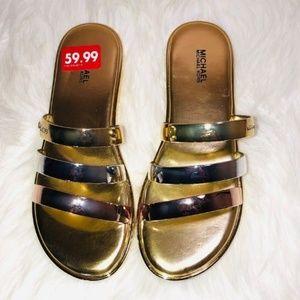 Michael Kors Gold/Rose/Silver Sandals 7